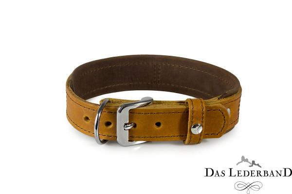 Das Lederband Zweiburgen halsband, Maroon / Mocca