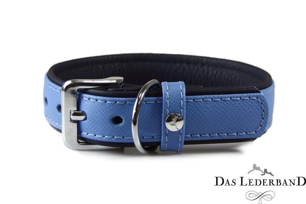 Das Lederband halsband Firenze, Azure/Oxford Blue