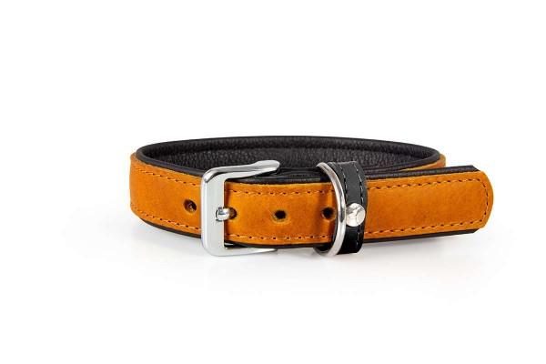 Das Lederband halsband Vancouver maroon/ zwart