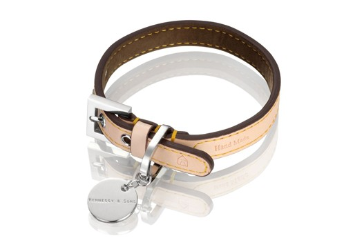 Hennessy & Sons Natural LV halsband, Chocolate