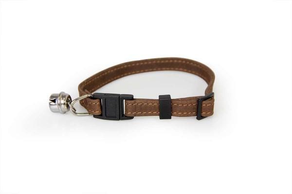 Das Lederband kattenhalsband met clicksluiting mocca