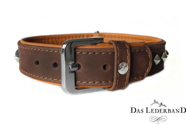 Das Lederband halsband Roma, Mocca/Cognac