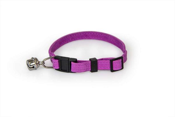 Das Lederband kattenhalsband met clicksluiting paars