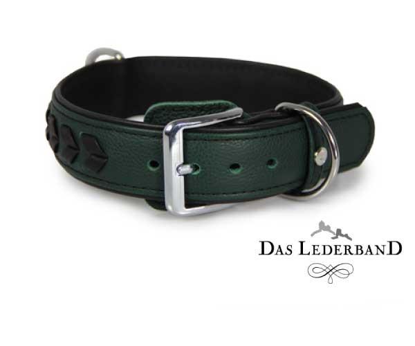 Das Lederband halsband Granada, Groen/Zwart