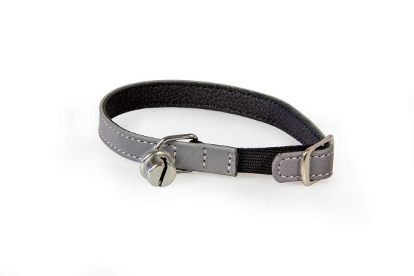 Das Lederband kattenhalsband met elastiek zilver/ zwart