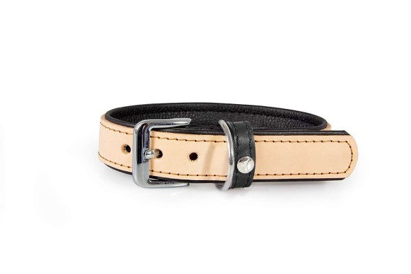 Das Lederband halsband Vancouver naturel / zwart