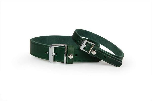 Das Lederband Halsband Weinheim Hunting Green