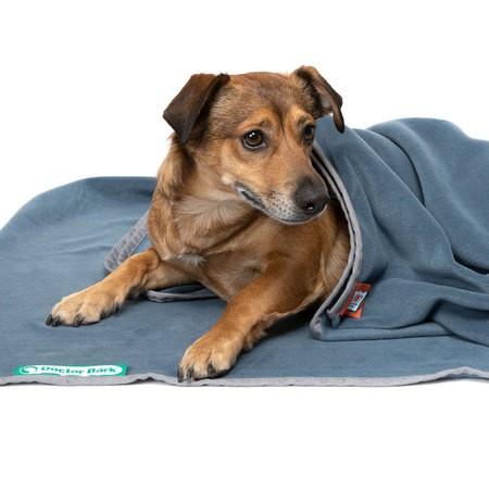 Doctor Bark zachte fleece deken blauw grijs