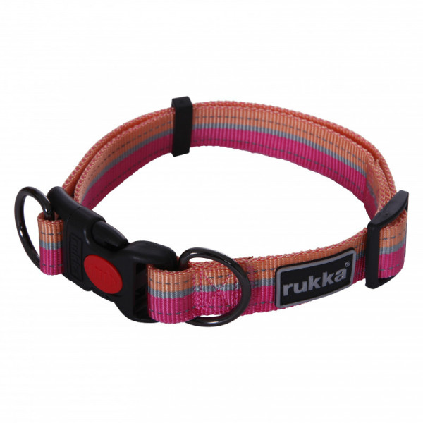 Rukka Pets Bliss Polar Stripe Halsband, Pink/ Salmon