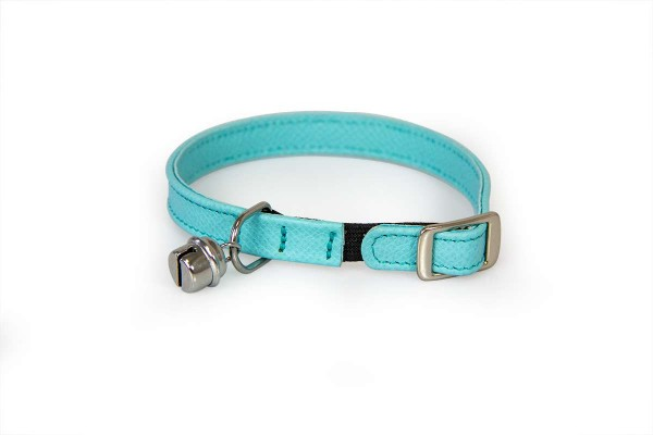 Das Lederband kattenhalsband met elastiek Electric Blue