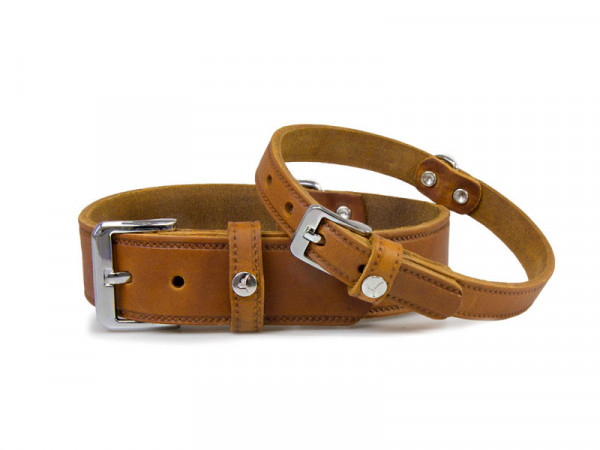 Das Lederband Basic Halsband Weinheim, Kastanje