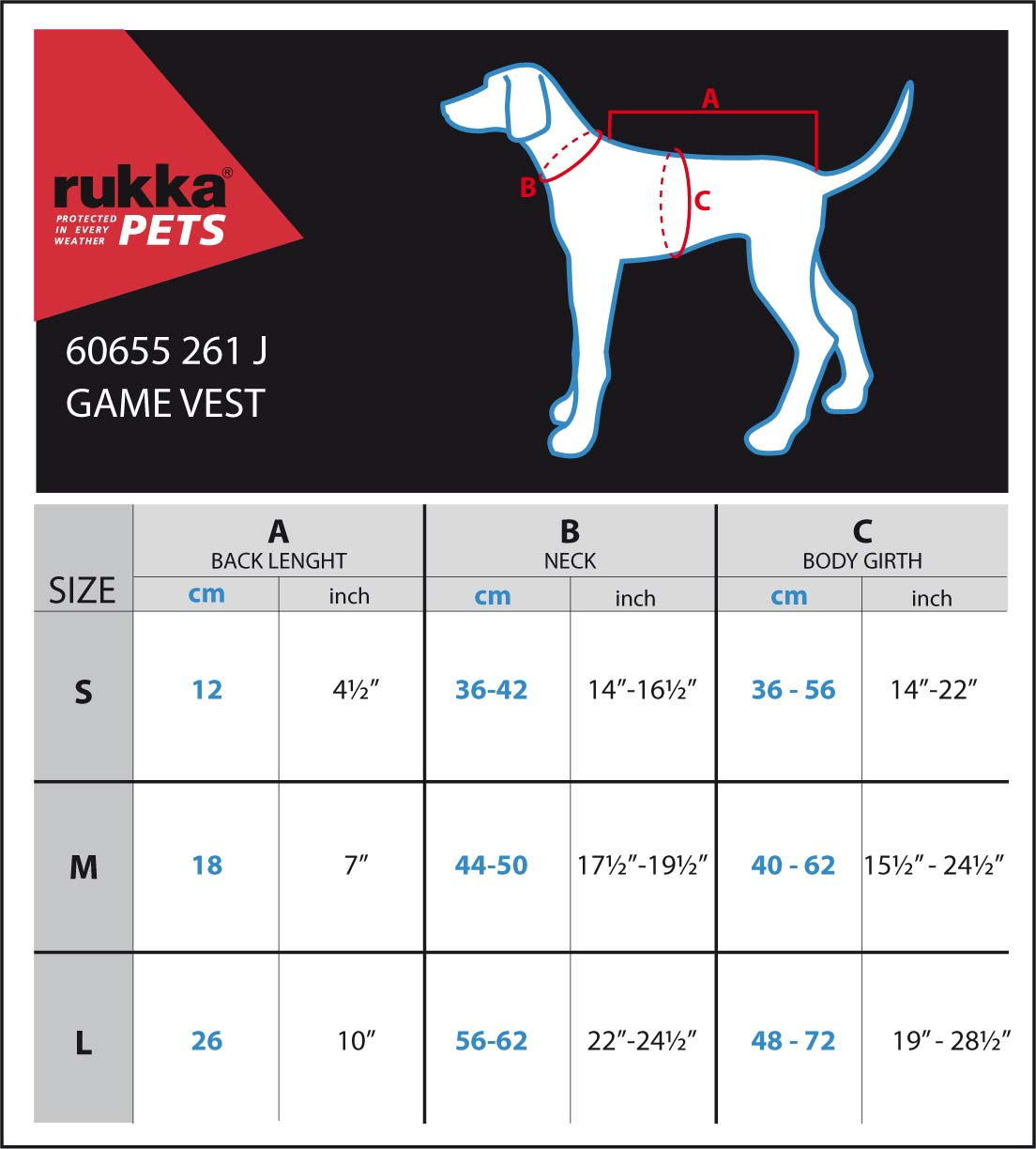 GAME-VEST-SIZE-CHART
