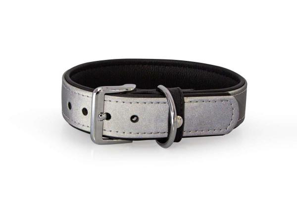 Das Lederband reflecterend halsband Oslo, Zilver / Zwart