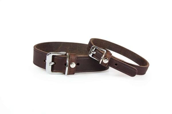 Das Lederband Halsband Weinheim mocca