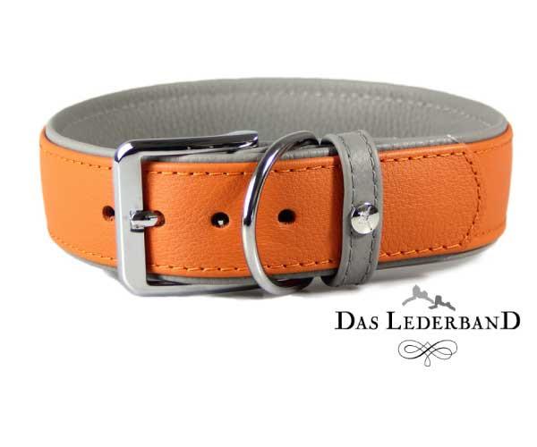 Das Lederband Halsband New York, Oranje/ Stone