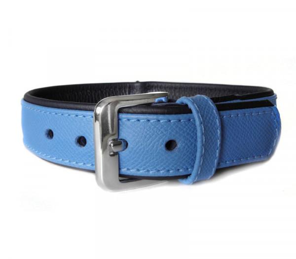 Das Lederband Milano Halsband, Azure / Oxford Blue