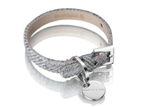 Hennessy & Sons Harris Tweed halsband, Silver Grey
