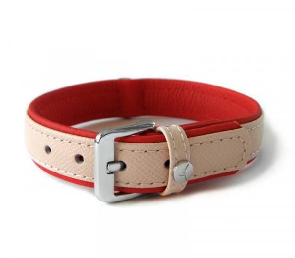 Das Lederband Milano Halsband (D-Ring achter), Rosy / Rubyred