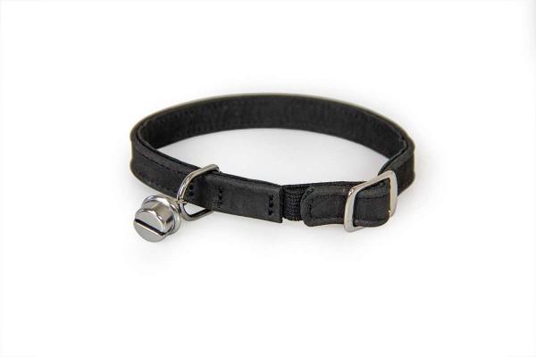 Das Lederband kattenhalsband met elastiek zwart