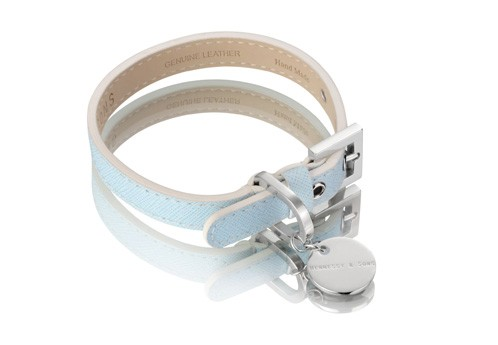 Henessy & Sons Saffiano halsband, Baby Blue