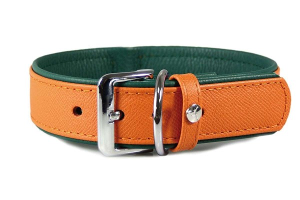 Das Lederband halsband Firenze Orange / Forest