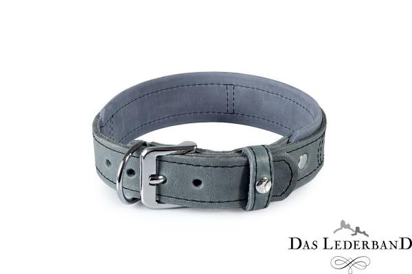 Das Lederband Zweiburgen halsband, Zilver / Granite