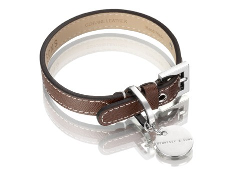 Henessy & Sons Saffiano halsband, chocolate