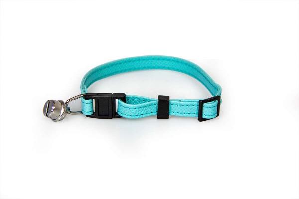 Das Lederband kattenhalsband met clicksluiting Electric Blue
