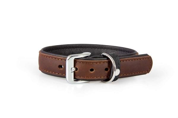 Das Lederband halsband Vancouver mocca/ zwart