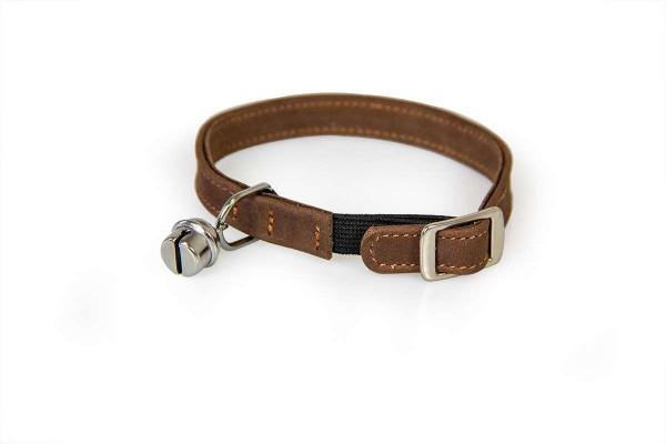 Das Lederband kattenhalsband met elastiek mocca