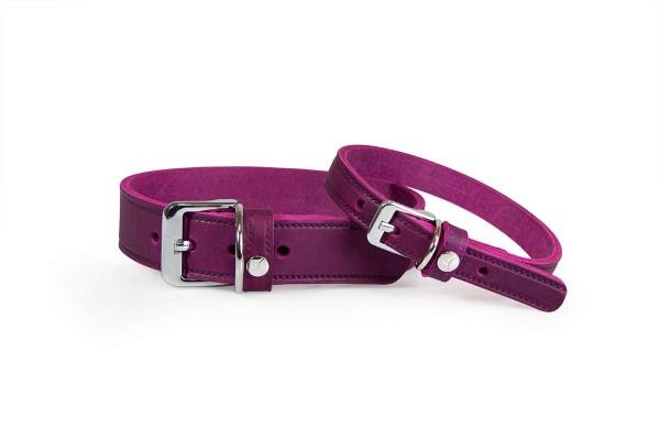 Das Lederband Halsband Weinheim Paars