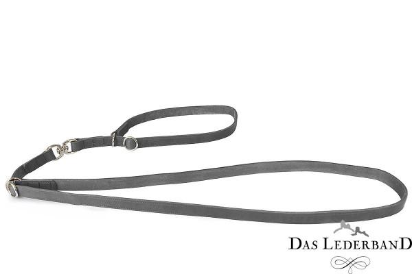 Das Lederband traploos verstelbare riem met halsband Graz, Zilver