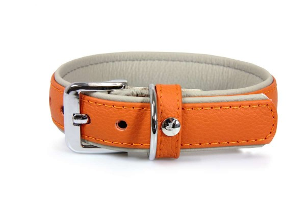 Das Lederband halsband Amsterdam, Orange/ Grey