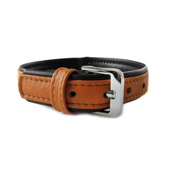 Das Lederband Halsband Denver Cognac / Zwart