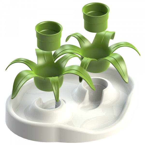 Aikiou Thin Cat Interactive Bowl Flower, wit/groen