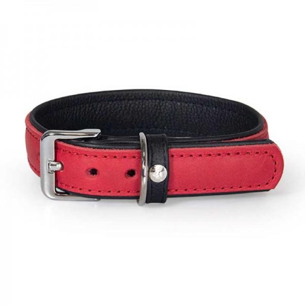Das Lederband Halsband Vancouver Rood / Zwart