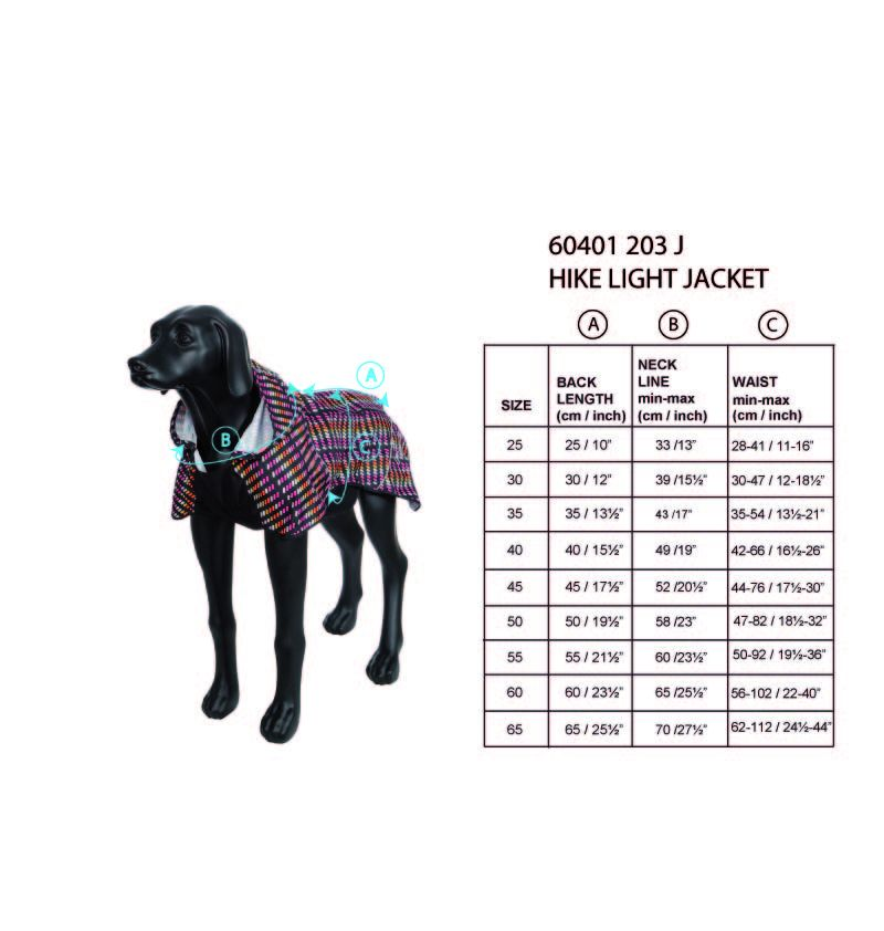 rukka-pets-hike-light-jacket-size-chart
