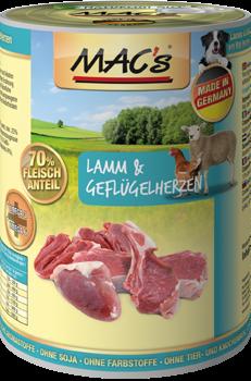 MAC's Dog Blikmenu Lam & Gevogelteharten (Glutenvrij)