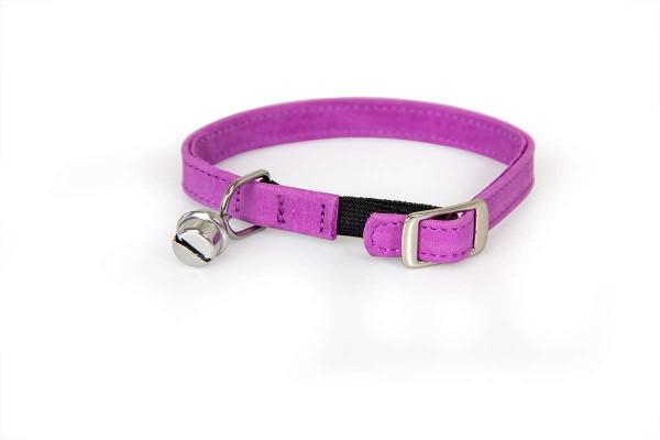 Das Lederband kattenhalsband met elastiek paars