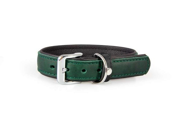 Das Lederband halsband Vancouver Hunting Green/ zwart