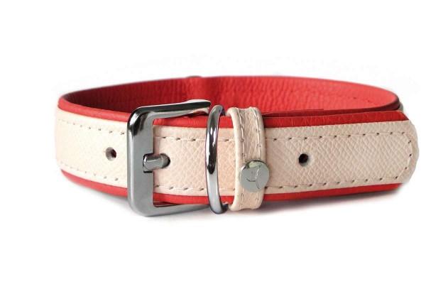 Das Lederband halsband Firenze Rosy / Rubyred