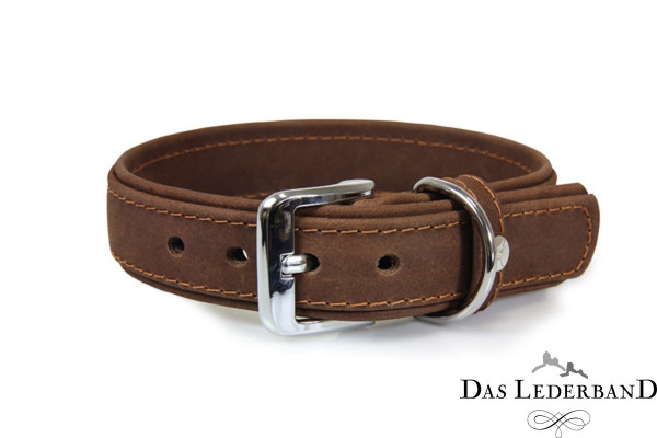 Das Lederband halsband Boston, Mocca